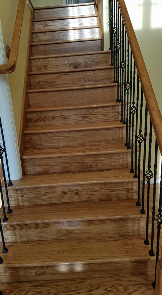 Stairs And Handrails Hardwood Floor Installation Ann